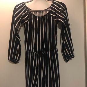Navy and white off the shoulder striped play suit
